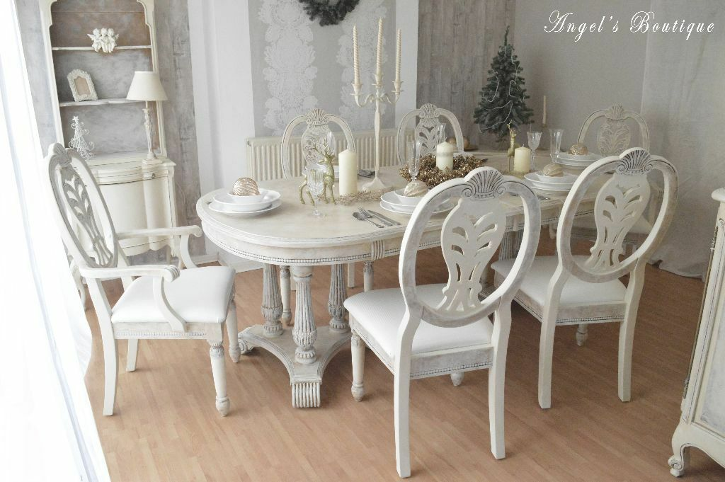 Unique Shabby Chic Provence Dining Table Six