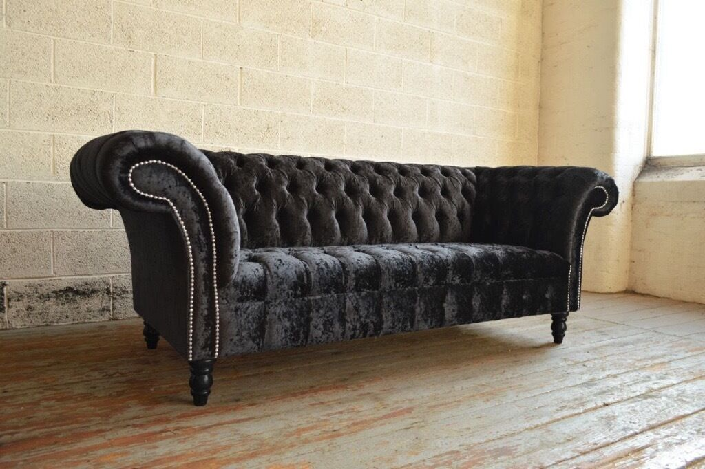 Modern Sofa With Removable Covers Luxury Modern Handmade Black Crushed Velvet Chesterfield 3