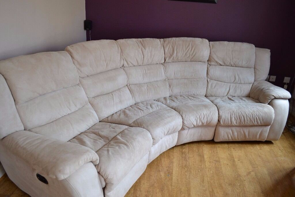 Gumtree Sofa Truro Dfs 4 Seat Curved Sofa, Dual Electric Reclining, Cream