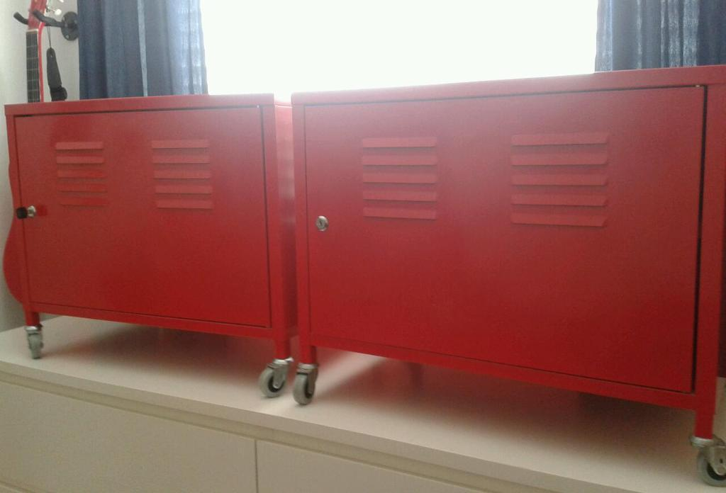 New Ikea Locations Pair Ikea Ps Red Metal Storage/bedside Locker Cabinets