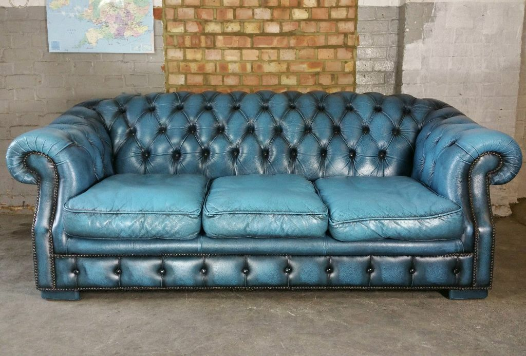 Vintage Ledercouch Vintage Leather Chesterfield Sofa Blue Turquoise Antique