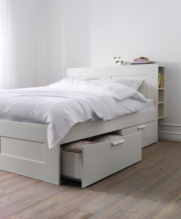 Ikea Bett 2 Lattenroste Ikea Brimnes Double Bed With Storage Headboard And