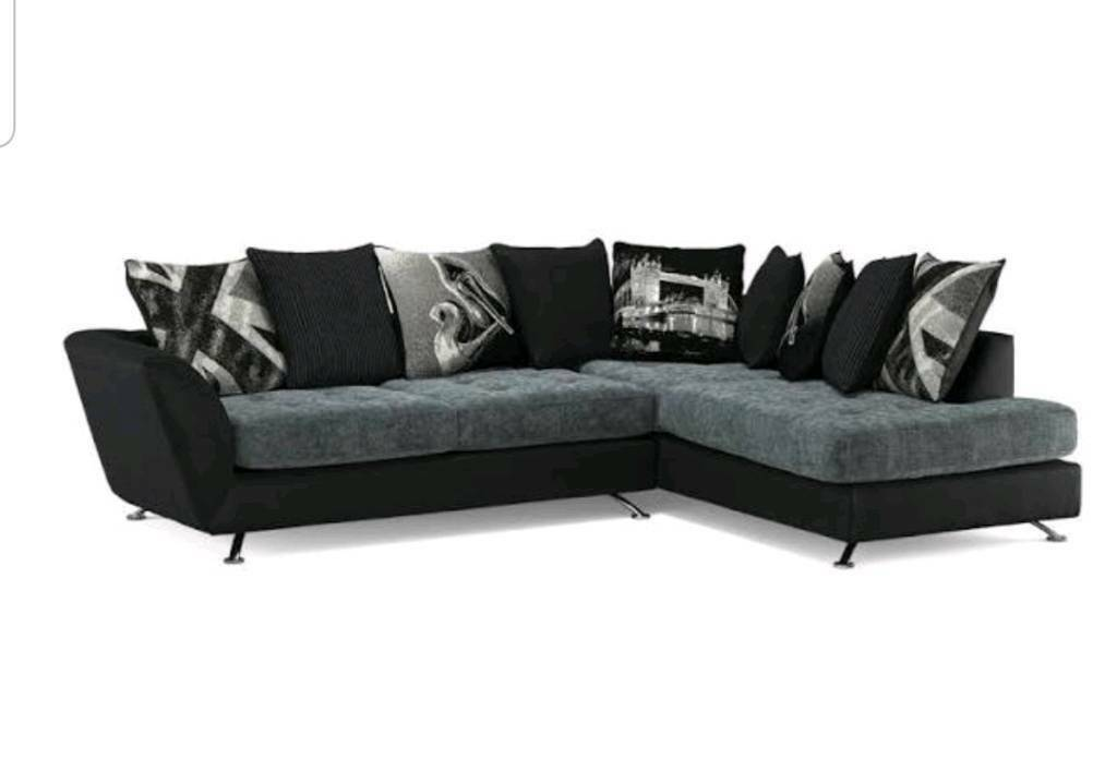 Stressless Couch Sofology Fabric Black And Grey Corner Sofa With Chaise