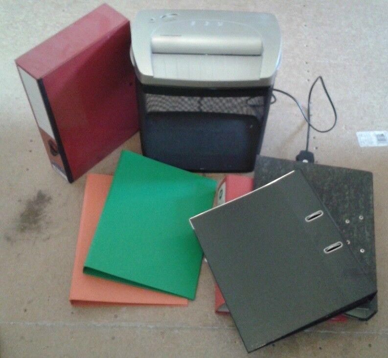 Shredder, files, paper, dividers, OHP acetates, plastic pockets