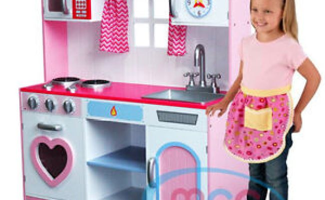 Large Girls Kids Pink Wooden Play Kitchen Children S Role