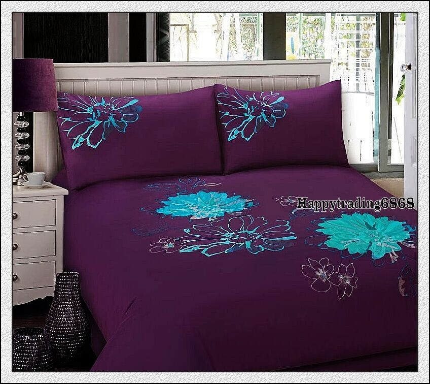 Teal Quilt Cover 280tc Dark Purple Teal Flora Embroidery * 3pc Queen Size