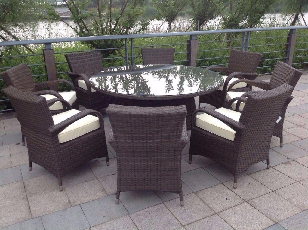 8 Seater Round Brown Rattan Garden Furniture Dining Set
