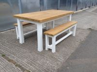 New solid pine dining table benches bench chairs 6ftx3ft ...