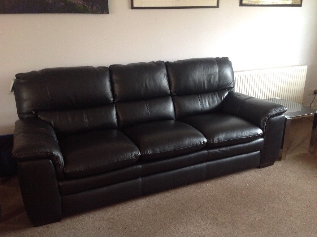 Dfs Sofa Legs Dfs Neron Black Leather 3 Seater Sofa. Brand New But Does