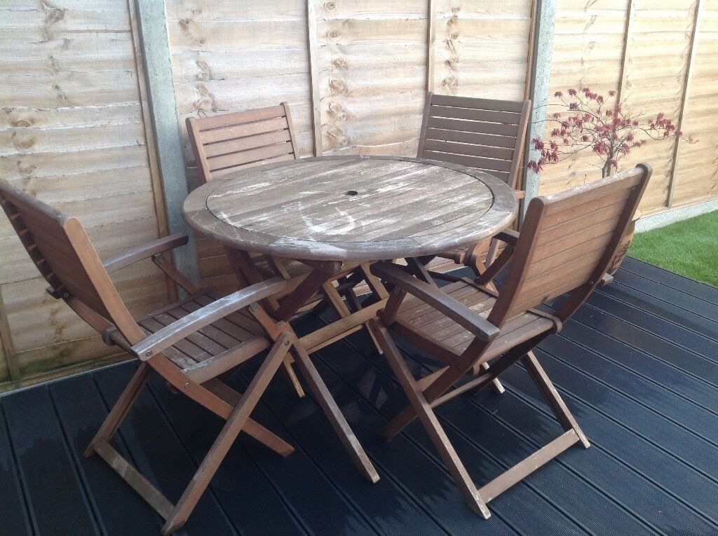 Homebase Garden Furniture Table And Four Chairs In