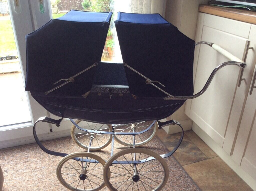 Double Pushchair With Buggy Board Childs Vintage Silver Cross Navy Blue Twin Dolls Pram Two