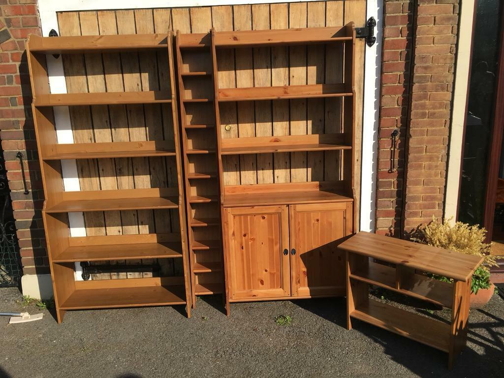Ikea Solid Pine Leksvik Bookcase Welsh Dresser Cd