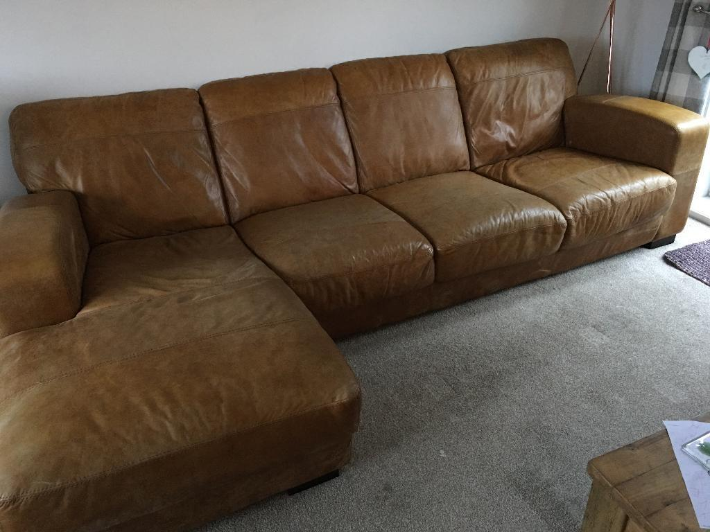 Dfs Caesar 4 Seater Leather Chaise End Sofa In Stockport
