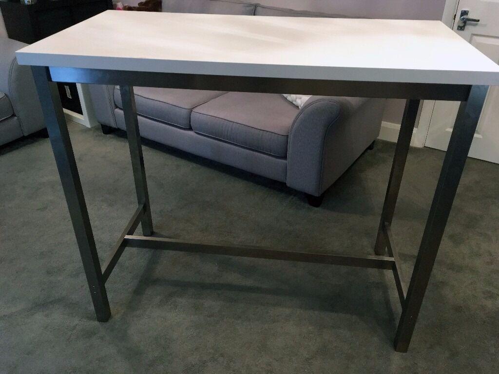 Ikea Utby Stainless Steel Breakfast Bar Table White Top