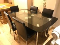 Glass dining table set with 6 chairs - Black and Chrome ...