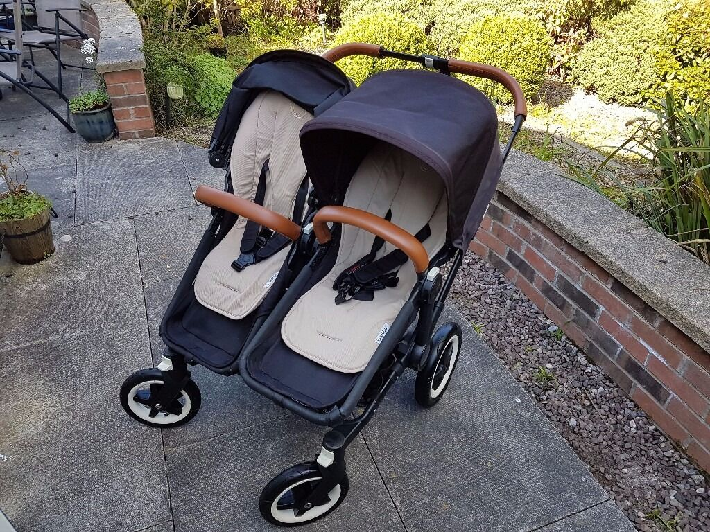 Double Pushchair With Buggy Board Bugaboo Donkey Duo Pram Pushchair Buggy Black Tan In