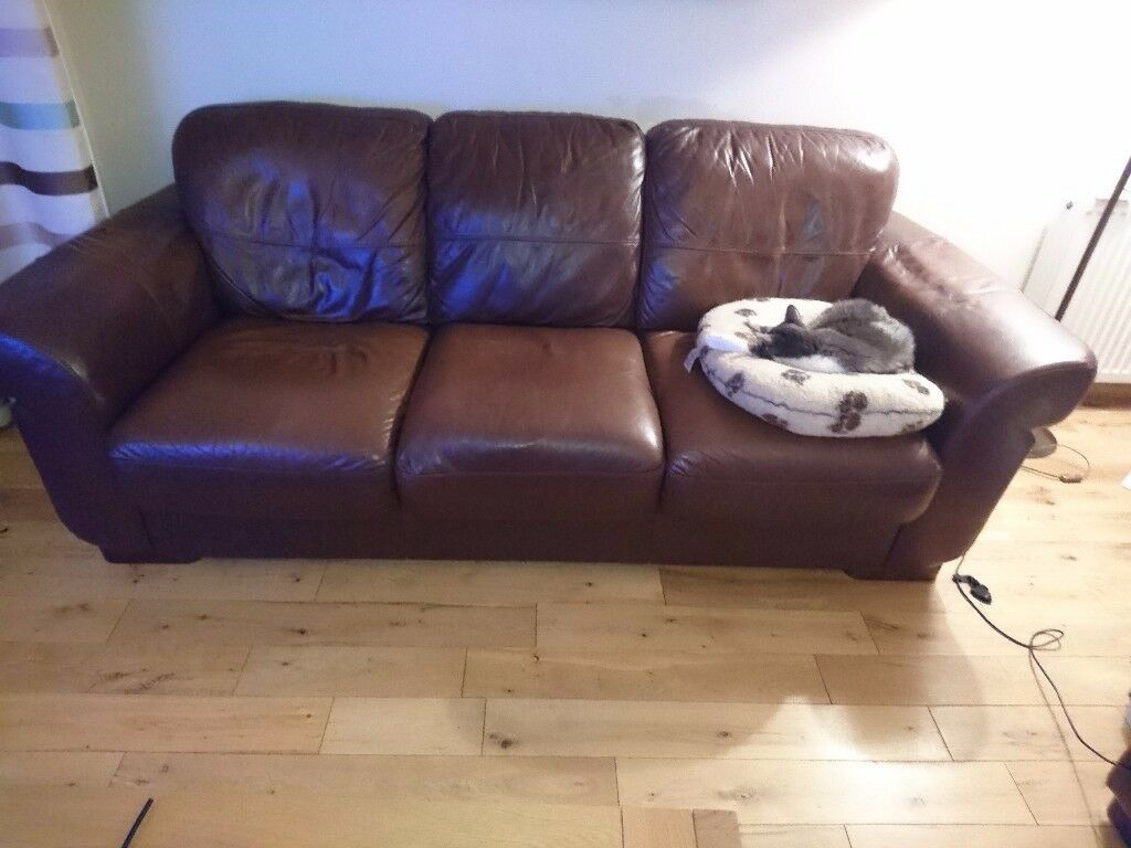 Leather Recliner Gumtree Glasgow Free Freebie Brown Leather 3 Seater Sofa In Milngavie