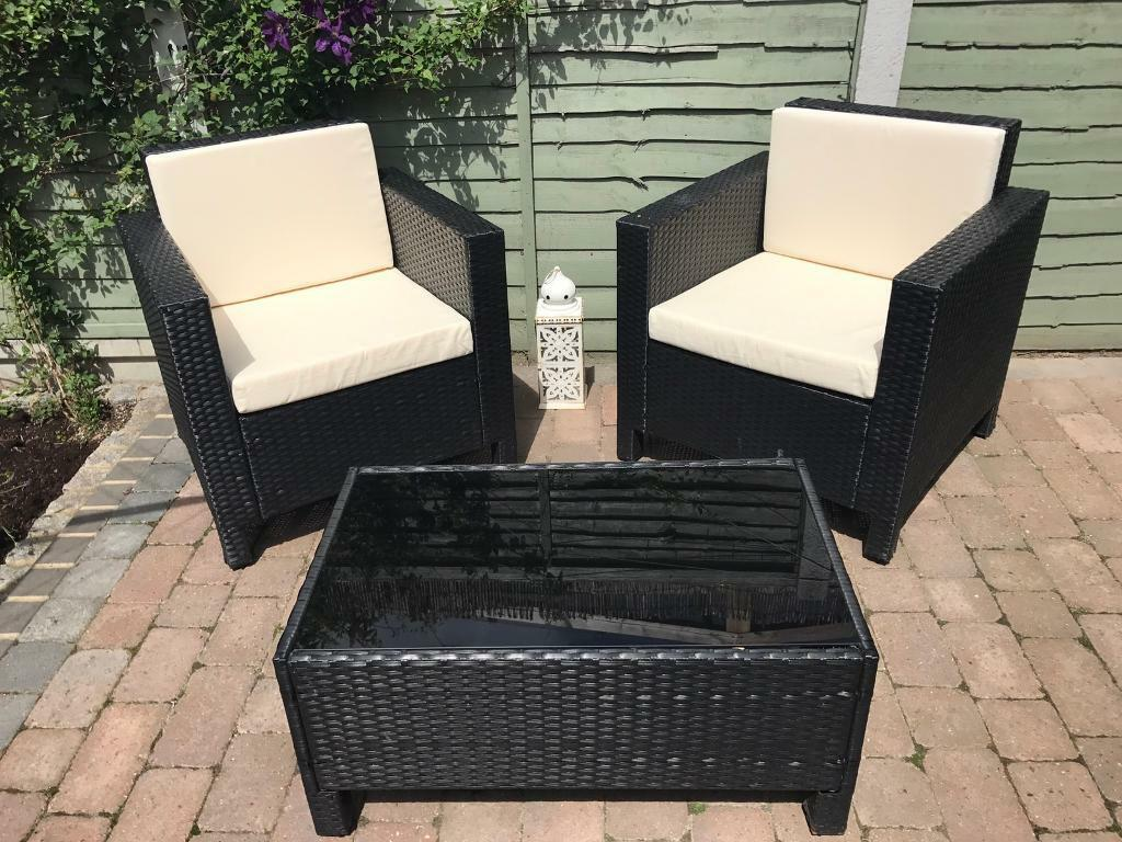 Black Rattan Garden Furniture Set In Canvey Island