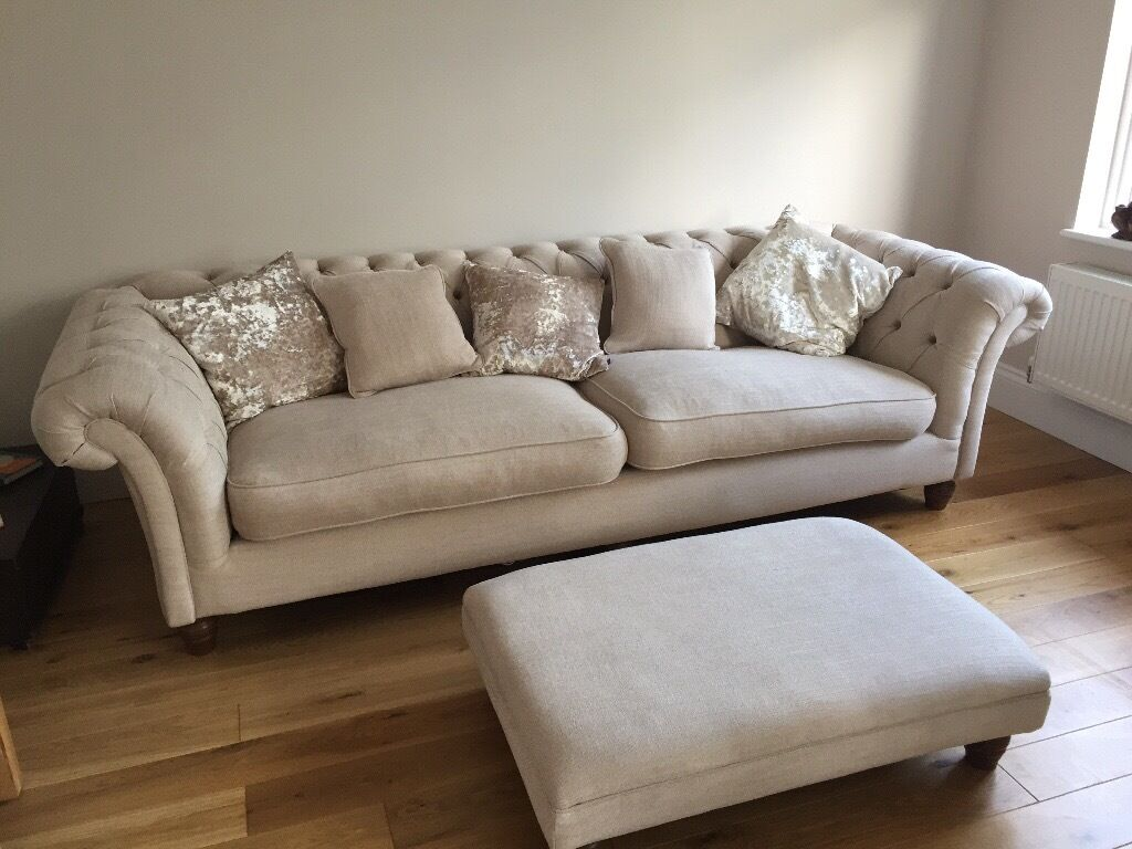 Chesterfield Sofa In Wales 'wheat' Coloured Fabric Chesterfield Sofa, Armchair And
