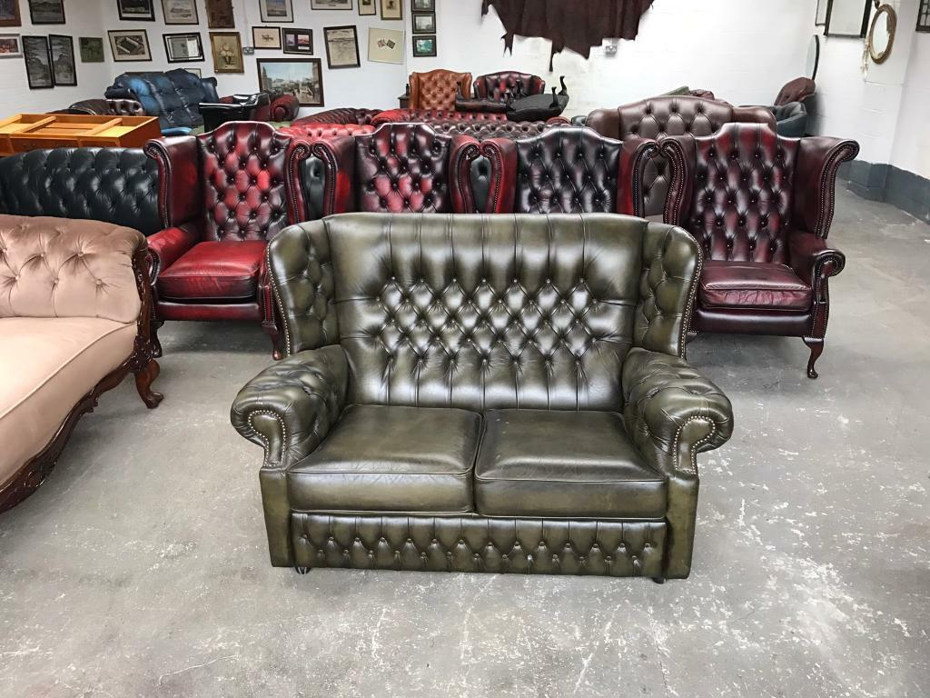 2 Seater Chesterfield Sofa Gumtree Green Leather Chesterfield 2 Seater Wingback Sofa Uk