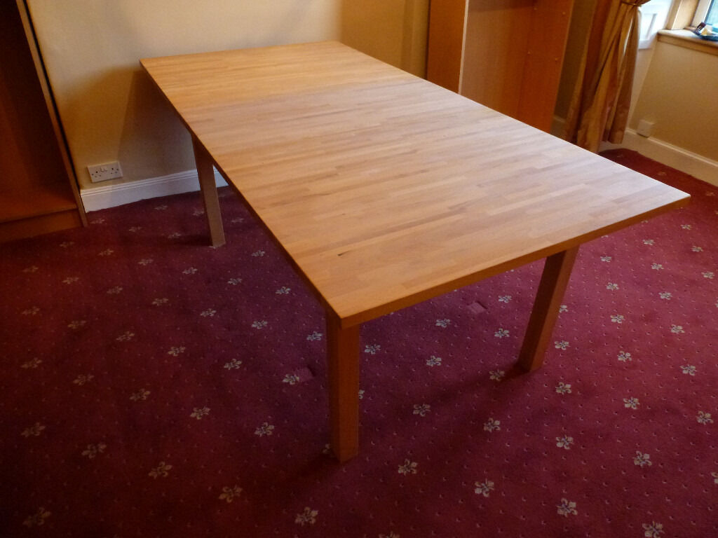 Fold Out Dining Table Ikea Bjorna Solid Light Oak 6 8 Seater Extending Dining