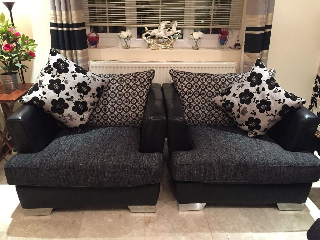 Gumtree Sofas For Sale East London Dfs Used 3 Seater Sofa And 2 Arm Chairs - Half Leather And