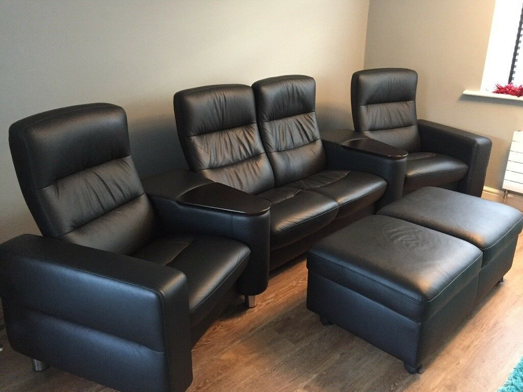 Stressless Sofa Ottoman Ekornes Stressless Cinema Sofa 4 Seats Wave Black With