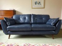 DFS French Connection Zinc Blue Leather 3 Seater Sofa ...