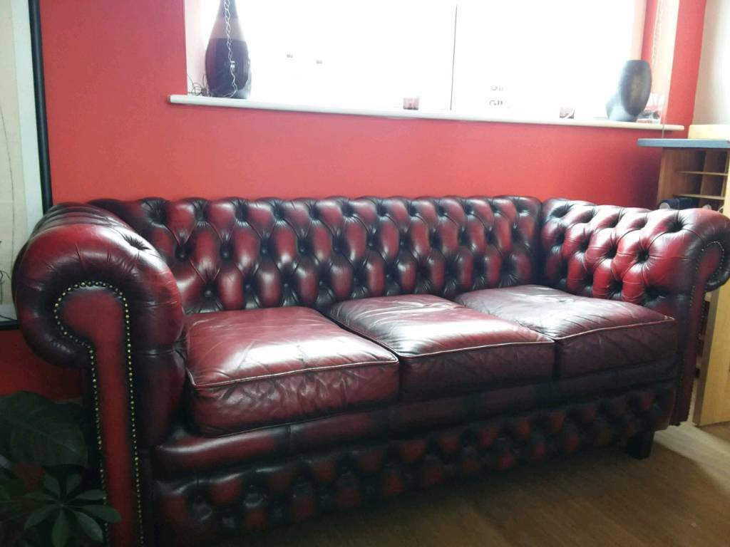 6 Seater Corner Sofa Chesterfield Red Leather Chesterfield 3 Seater Sofa In Butetown
