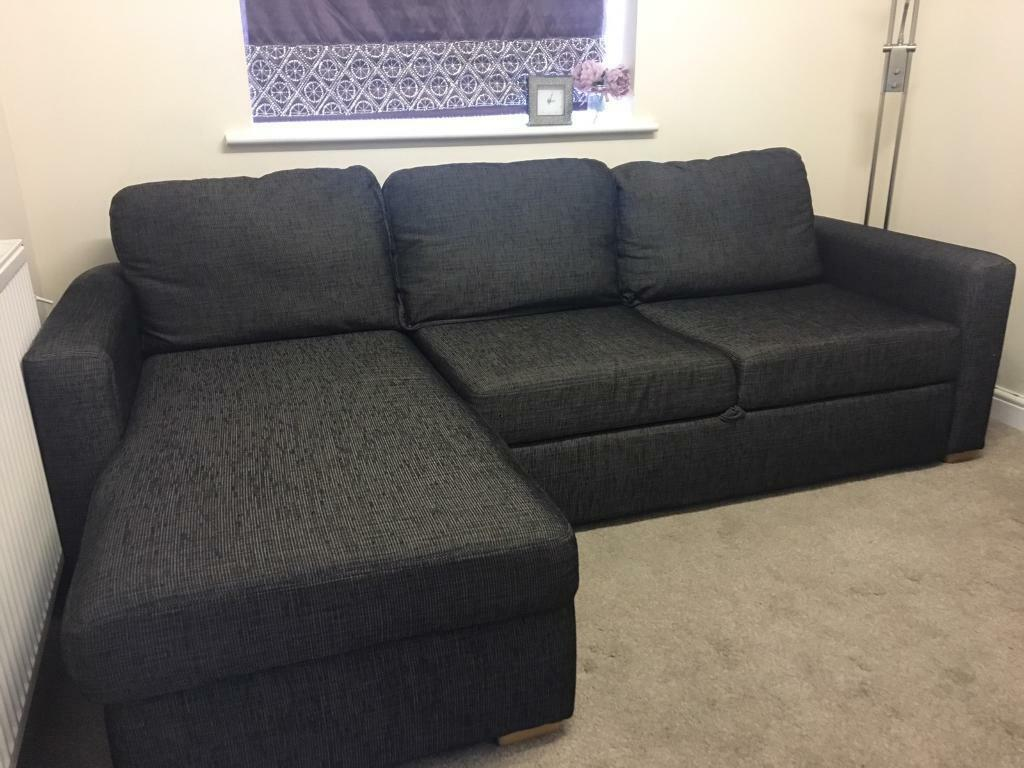 Charcoal Grey Corner Sofa Bed With Armchair In