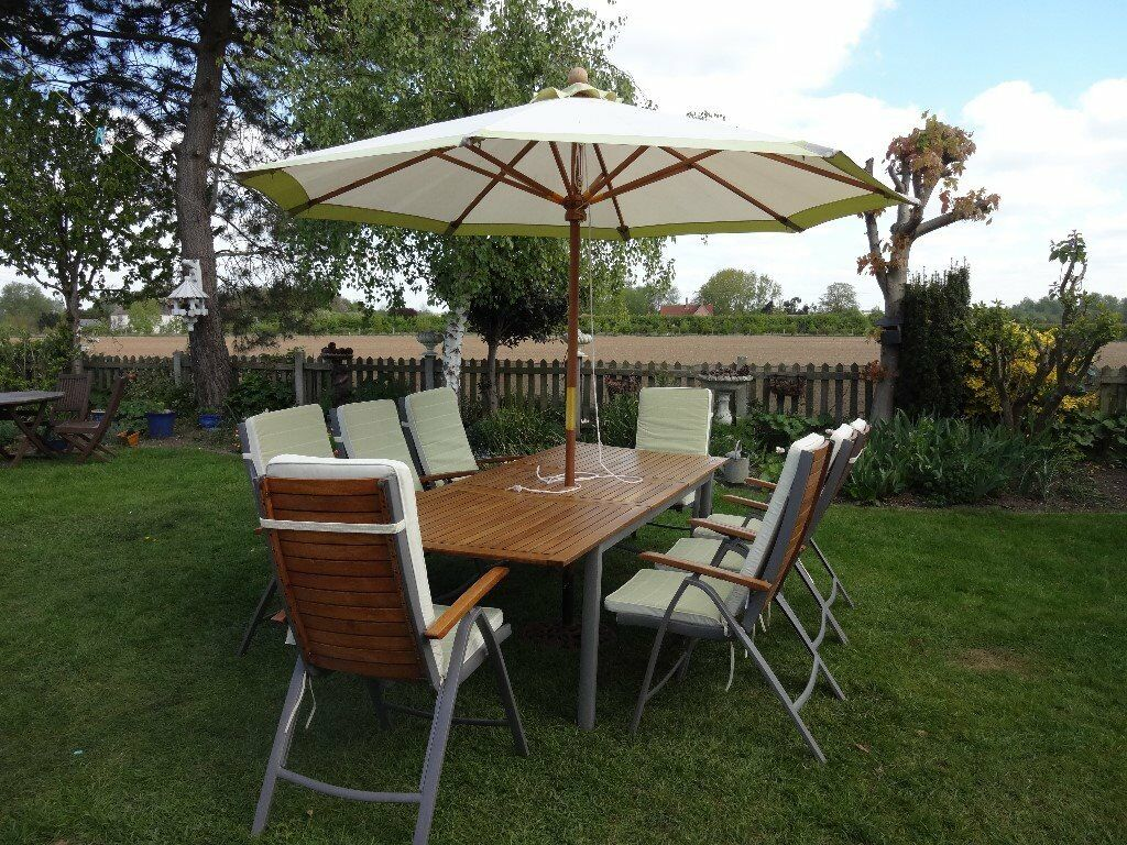 Large Garden Set Extending Table 8 Chairs Large