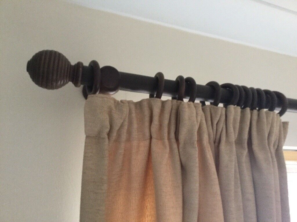 Dark Wood Curtain Rings 3 Wooden Curtain Poles Complete With Ends And Rings In