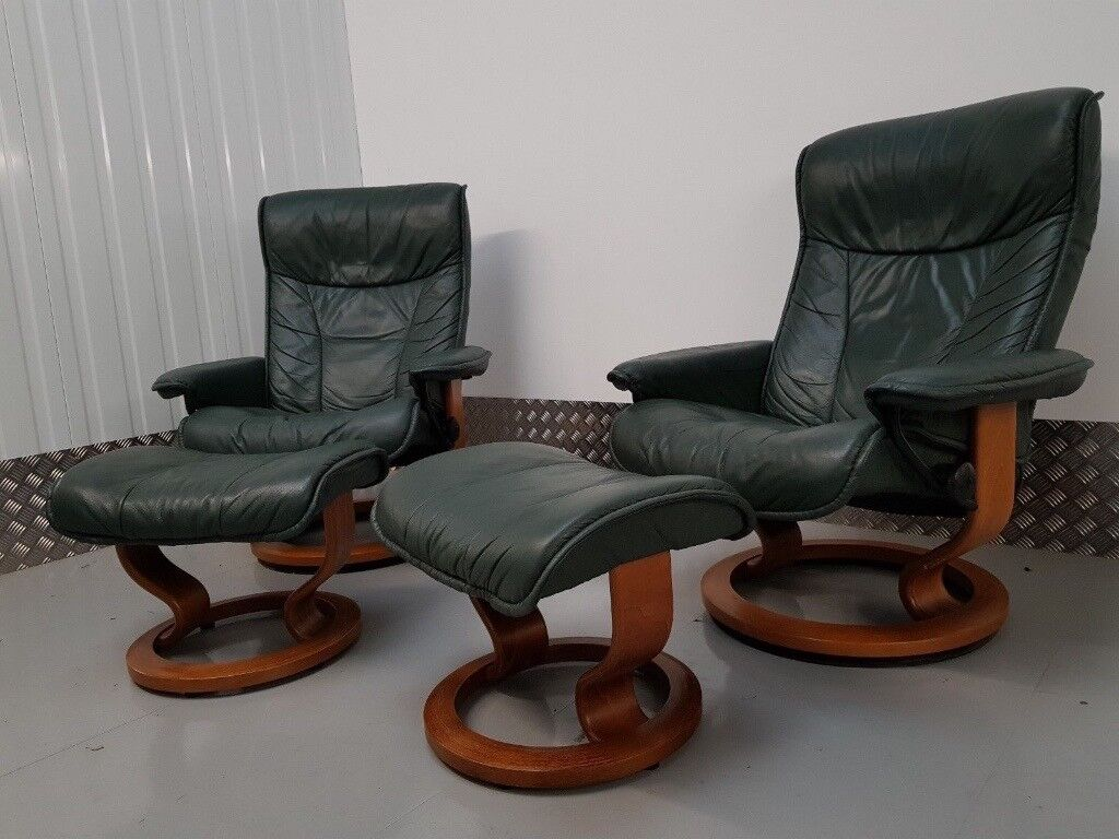 Stressless Sofa And Chairs Ekornes Stressless 2 Swivel Recliner Hunter Green Leather