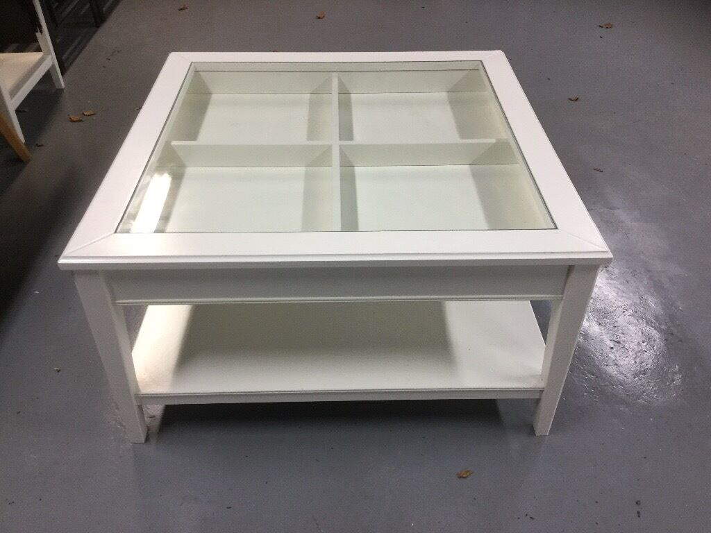 Ikea Liatorp white glass top square coffee table