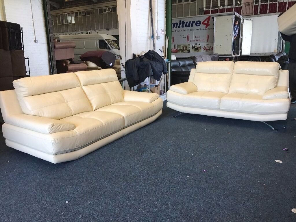 Harveys Sofas Grey Harveys Genoa White Cream Leather 3 And 2 Seater Sofa Set