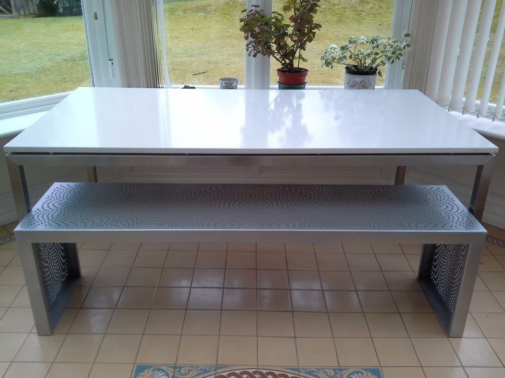 Caesarstone Off Cuts Contemporary Caesar Stone And Metal Dining Table With