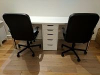 2-person Office Desk with matching Drawer (IKEA Alex ...