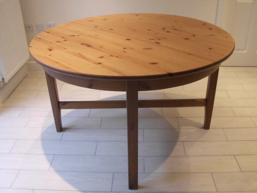 IKEA LEKSVIK ROUND EXTENDING DINING TABLE. SEATS UP TO 6