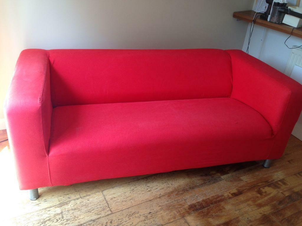 Sofa Ikea Klippan 3 Seater With Removable Washable Red