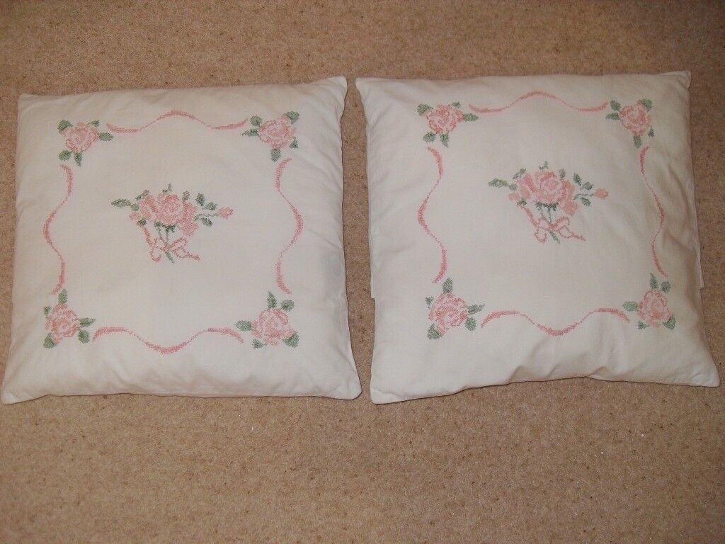 Laura Ashley Cushions Embroidered Vintage Style In