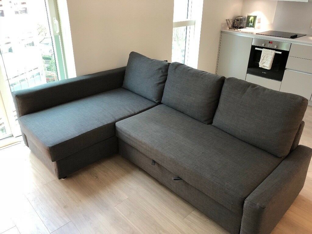 Ikea 4 Seater Sofa Large Grey Ikea Corner Sofa Bed - 3/4 Seater & Double Bed