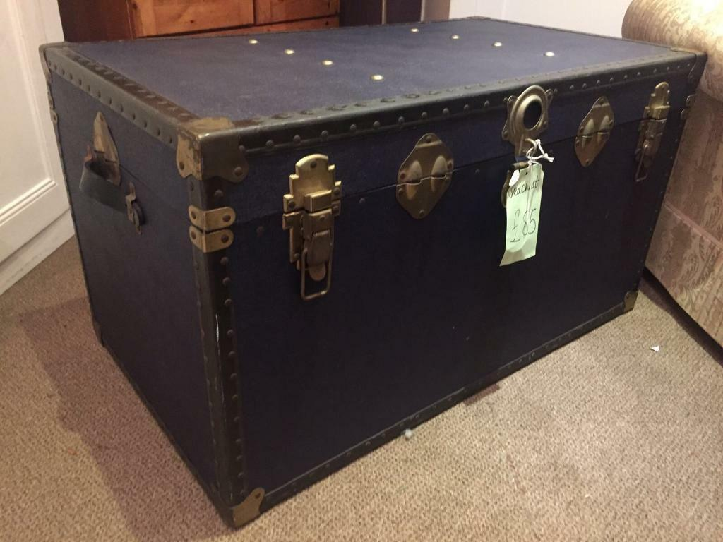 Toy Chest Ikea Vintage Trunk Chest In Navy Blue + Brushed Brass Hardware