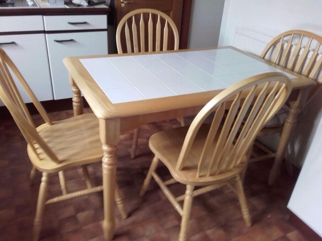 White Tile Kitchen Table White Tile Top Pine Kitchen Table And 4 Sturdy Curved Back