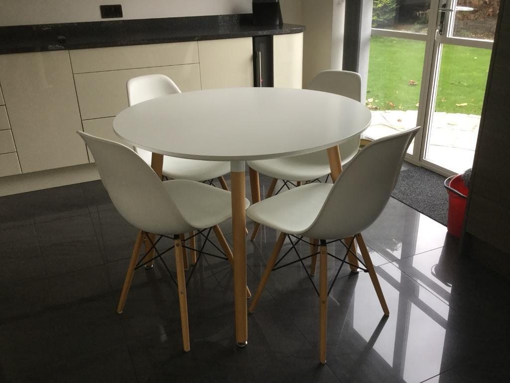 Modern White Dining Table Modern White Dining Table And 4 Bucket Chairs In St Ives