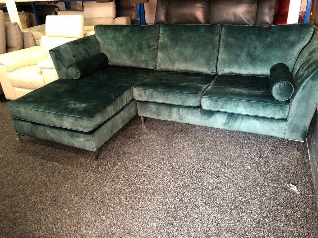 New Ex Display Bold Idol Corner Chaise Velvet Sofa