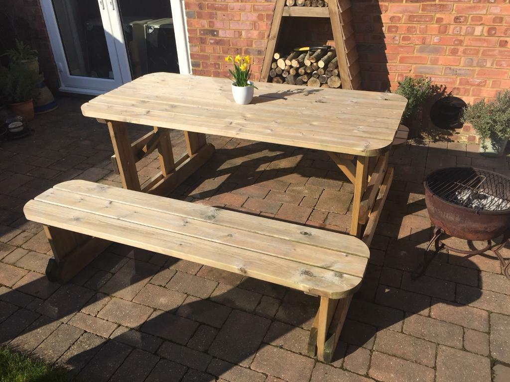 Heavy Duty Wooden Outdoor Picnic Table Bench 8 Seater Pub