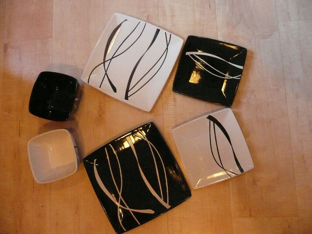 8 Piece Ethos Black and white dinner set with square