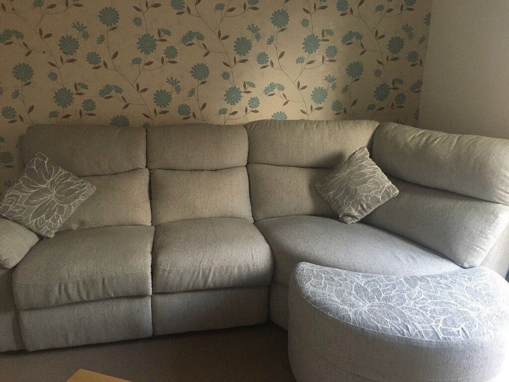 Grey Half Couch Light Grey Beige Corner Sofa With Half Moon Footstool In