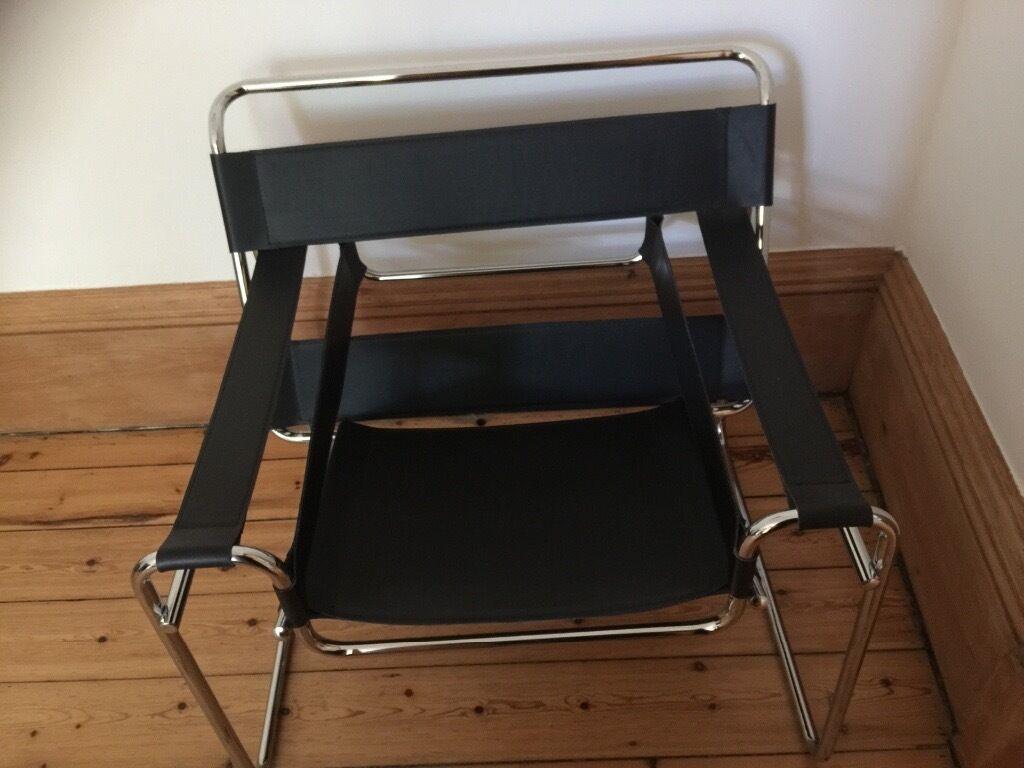 Vintage Retro Black Leather Chrome Le Corbusier Chair In