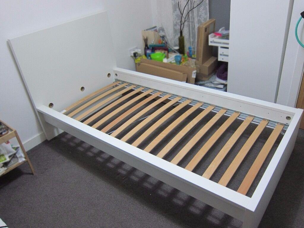 Ikea Malm Single Bed Frame White Luroy Slatted Bed